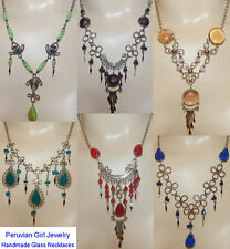10 GLASS NECKLACES ALPACA SILVER PERU JEWELRY ARTISAN MADE PERUVIAN LOT