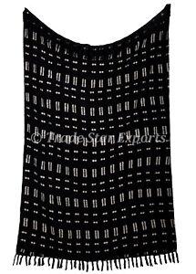 Mudcloth Throw Luxurious Black & White Blanket With Tassels Handloom Shawl Wrap