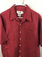 Mens Rushgand Hawaiian Style Short Sleeve Button Front Shirt Size Large Red