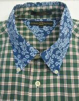 Tommy Hilfiger XL Mixed Print Shirt Floral Checked Green Blue Button Front