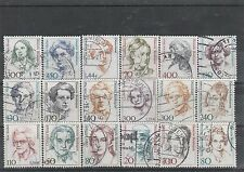Germany 1986 to 2003 Famous Women  18 used stamps - high values included