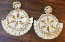 Artisan Handmade Beaded Tassel Earrings Boho Chic Stud Circle Shape Flower White