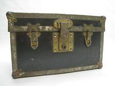 Antique Early 1900's Salesman Sample Metal & Brass Bassett Locking Trunk Vintage