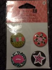 Studio G Flair Buttons Badges 4 Count Laugh Lips Flower Star