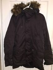 NWT  Abercrombie & Fitch HERITAGE PARKA FAUX FUR HOOD SHERPA JACKET COAT L Black
