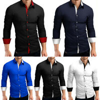Luxury Mens Long Sleeve Casual Formal Slim Fit Dress Shirt Blouse Top Fashion