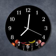 Glass Wall Clock Kitchen Clocks 30 cm round silent Fork Black