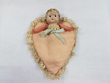 Vintage Occupied Japan Celluloid Flapper doll In Sweet Heart Laced Cloth Pouch