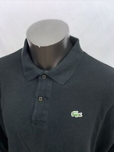 Lacoste Mens Size 9 Black Polo Golf Shirt Long Sleeve