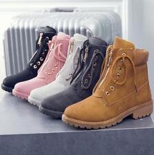 New Women Ladies Ankle Boots Army Combat Flat Grip Sole Biker Work Walking Shoes
