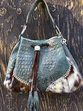 Raviani Western Turquoise Leather Handbag Drawstring Purse Swarovski Crystal