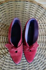 FIONA MCGUINESS RED SUEDE LEATHER FLAT ANKLE BOOTS,STUDDED BOWS,$200+,36 1/2