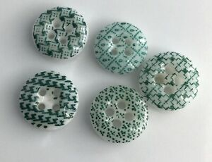 Lot 5 Antique Green China Calico Buttons Old Variety Patterns