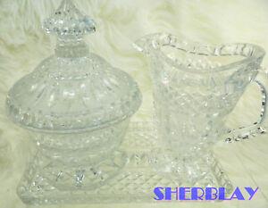 Gorgeous Vtg Molded Glass Sugar Creamer Clear Crystal on Tray