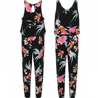 Ladies Plus Size Floral Print Frill Slim Romper Long Jumpsuit Trousers 14-28