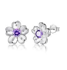1Ct Purple Amethyst Feminine Flower Stud Earrings In 925 Sterling Silver