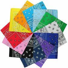 "12 (Dozen) Paisley Multi Color 100% Cotton Bandana 22""x22"" Bandanna"