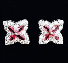 EARRING Cubic Zirconia Crystal Gemstone Stud Silver Simple Red Corundum Star