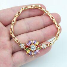 18K Yellow Gold Filled Women Flower Rainbow Mystical Topaz Gems Bracelet Jewelry