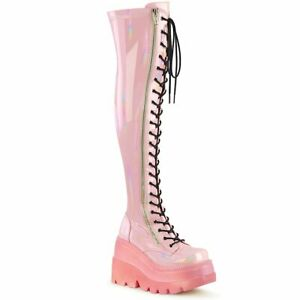 SHAKER-374-1  Baby Pink Hologram Stretch Patent