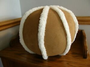 Pottery Barn Suede & Polyester Sherpa Trim Ball Pillow - Fun & Unique! - New