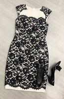 LK Bennett Lace Cream Black Dress Size 8 Occasion Wedding Party Dinner