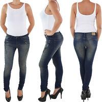 Damen Slim Fit Röhren Stretch Skinny Jeans Hüft Hose 34 36 38 40 42 hellblau