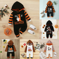 Halloween Newborn Baby Boy Girl Hooded Romper Bodysuit Jumpsuit Clothes Outfits