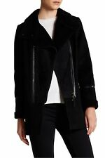 $950 NWT Mackage Genuine Sheepskin Fur Leather Wool Mod Peacoat Coat Jacket Sz S