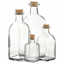 3 6 9 12 Glass Storage Bottle Jars Vials Cork Stopper Lid Kitchen Cruet Food Set