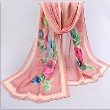 Foulard 160 X 50 cm Mousseline de Soie Rose Saumon  - Motif Fleurs Roses