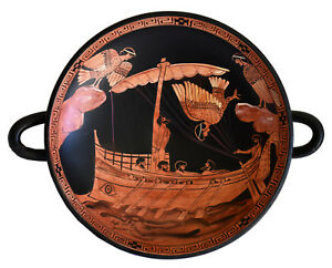 Odysseus passing the Sirens - Red Figure small Kylix Vase - Siren Painter
