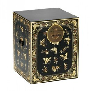 Made to Order Golden Dragon Oriental Painted Solid Wood Decorated Black Chest