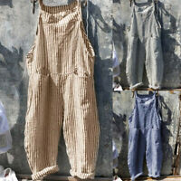 Women Pocket Bandage Sleeveless Jumpsuit Stripe Loose Linen Playsuit Romper