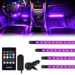 Xprite 4Pcs RGB LED Car Interior Atmosphere Lights Strip Kit IR Remote Control