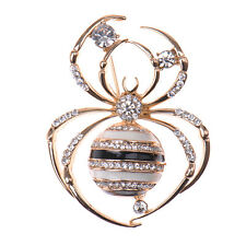 Women's Retro Alloy Rhinestone Crystal Spider Wedding Bridal Bouquet Brooch Pins