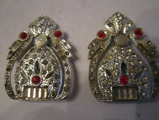 "2"" Long - Ofcc Vtg Crystal Clothing Clips -"