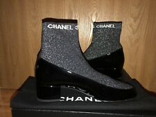 NIB CHANEL 17B Patent & Fabric Sock Short Boot Low Block Heel Bootie 40