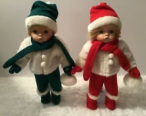 """Seymour Mann Miki and Mikey Twin Winter Christmas Dolls 14 """" TALL with Stands"""