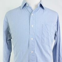 POLO RALPH LAUREN CUSTOM PHILIP FIT 2 PLY 100s BLUE GINGHAM CHECK BUTTON UP XL