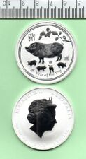 2019 AUSTRALIA YEAR OF THE PIG OUNCE PERTH MINT SILVER CAPSULED COIN