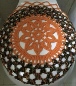 Handmade Crochet Round Toilet Lid/Seat Cover Bright Orange/Multicolor