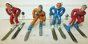 Old BARCLAY USA 1930s Dimestore Lead Winter Figures, Men & Women Skiers, 4 Pcs.