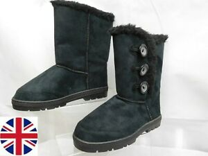 Ladies Winter Warm Fur Casual Snow Mid Calf Fashion Boots  UK 4