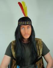 OLD RED INDIAN LONG GREY FANCY DRESS WIG /& WOVEN HEADBAND WITH TWO FEATHERS UK