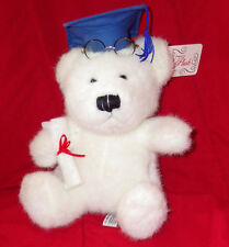 "Progressive Plush White Graduation Bear NWT 8"" Plush Toy Stuffed Animal"