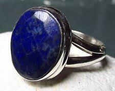 Plata 925 Facetado Azul Lapis Lazuli Anillo Uk M ½ / Us 6.5. Envío Reino Unido