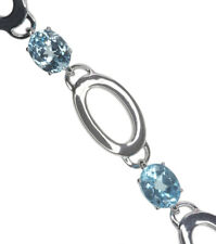 Sky Blue Topaz Gemstone Oval Adjustable Sterling Silver Bracelet