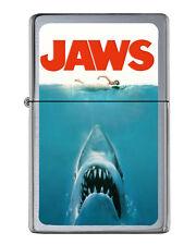 Jaws Shark Movie Poster Flip Top Lighter Brushed Chrome with Vinyl Image.