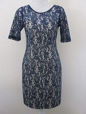 NEXT UK 12. Navy blue dress. Shoulders & sleeves navy lace. NWOT. Wedding.Etc.